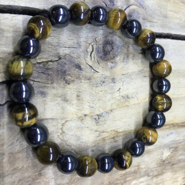 Bracelet protection pierre oeil de tigre/hématite 8mm