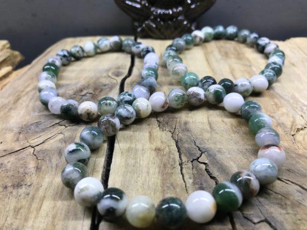 Bracelet perle 8mm pierre en Agate d'arbre