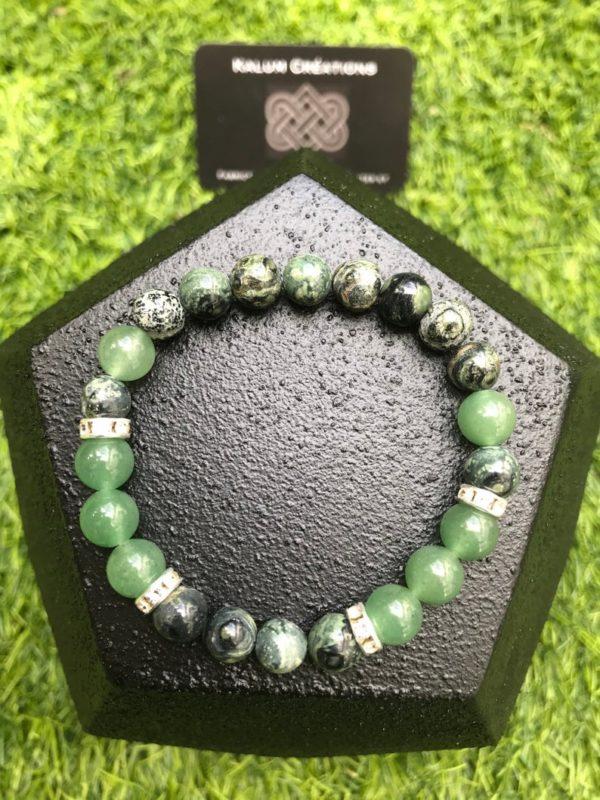 Bracelet perle aventurine verte / jaspe kambala