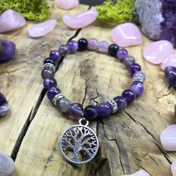Bracelet élastique en Fluorite et Améthyste, avec un charmant arbre de vie