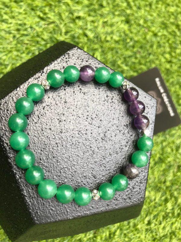 Bracelet aventurine verte et améthyste en perle de 8mm
