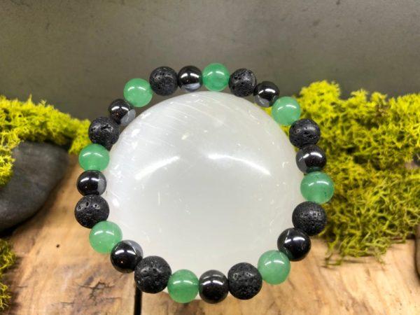 Bracelet Aventurine verte / Hématite et pierre de lave 8mm
