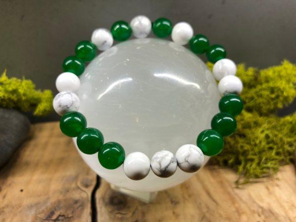 Bracelet Howlite et Jade vert 8mm