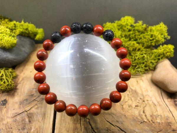 Bracelet Jaspe rouge et pierre de lave en 8mm