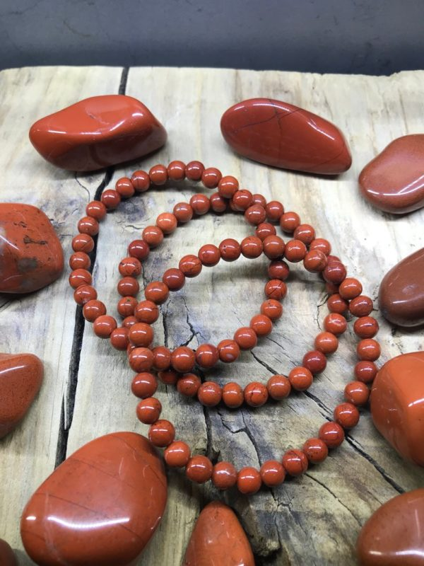 Bracelet perle 6mm jaspe rouge