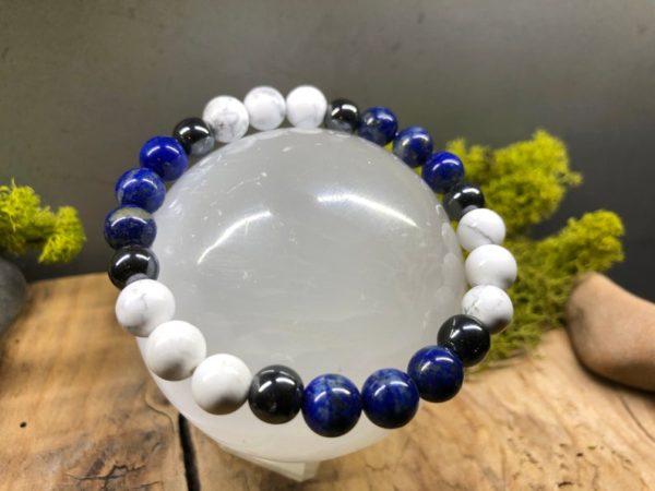 Bracelet Lapis Lazuli / Howlite / Hématite en 8mm