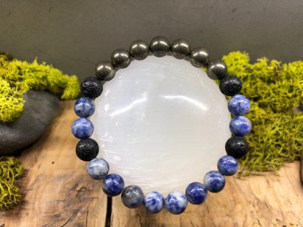Bracelet Sodalite / Pyrite / Pierre de lave