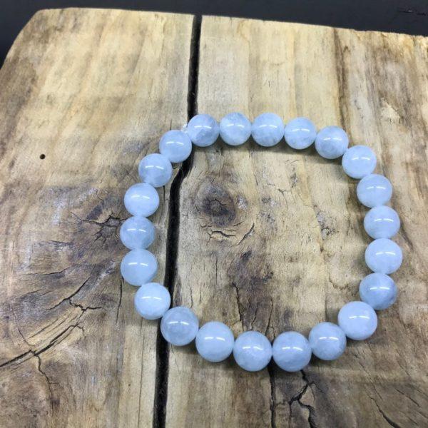 Bracelet aigue marine perle de 8mm