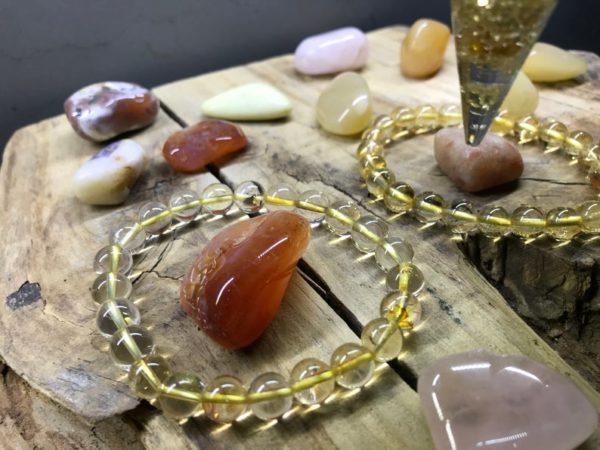 Bracelet perle 8mm citrine naturelle