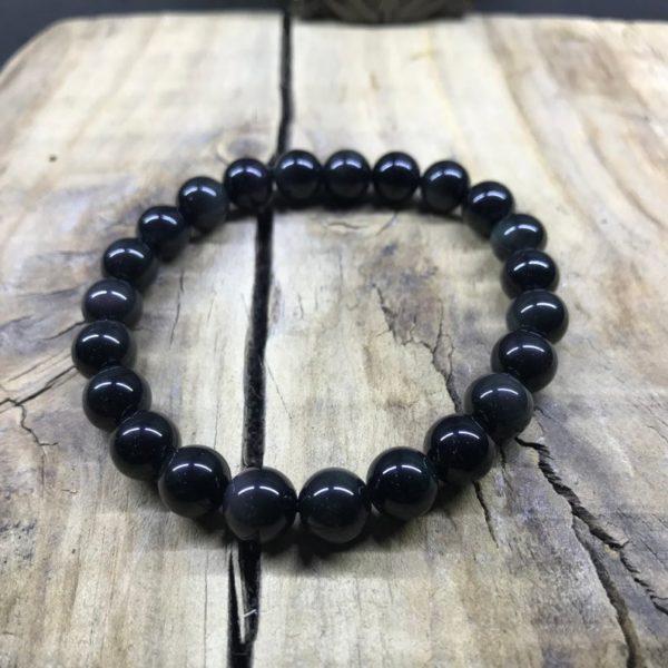 Bracelet perle 8mm pierre Obsidienne noir brut