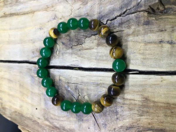 Bracelet œil de tigre et jade vert 8mm