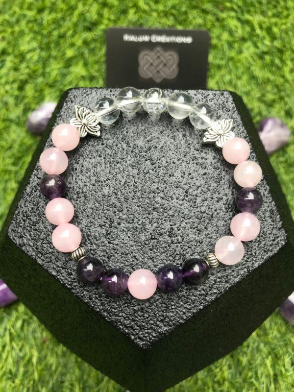Bracelet perle quartz rose /améthyste /cristal de roche