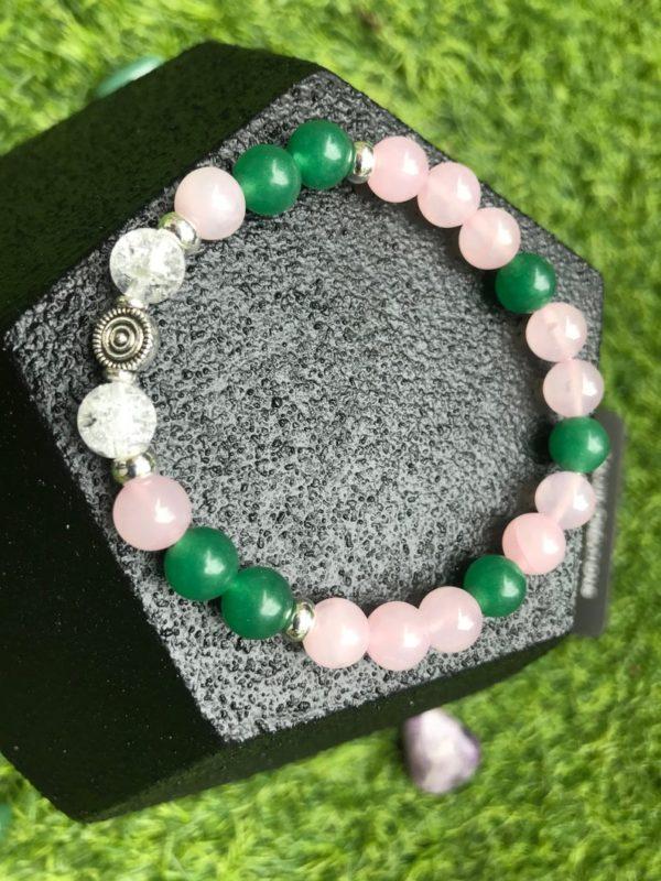Bracelet perle quartz rose / cristal de roche / aventurine verte