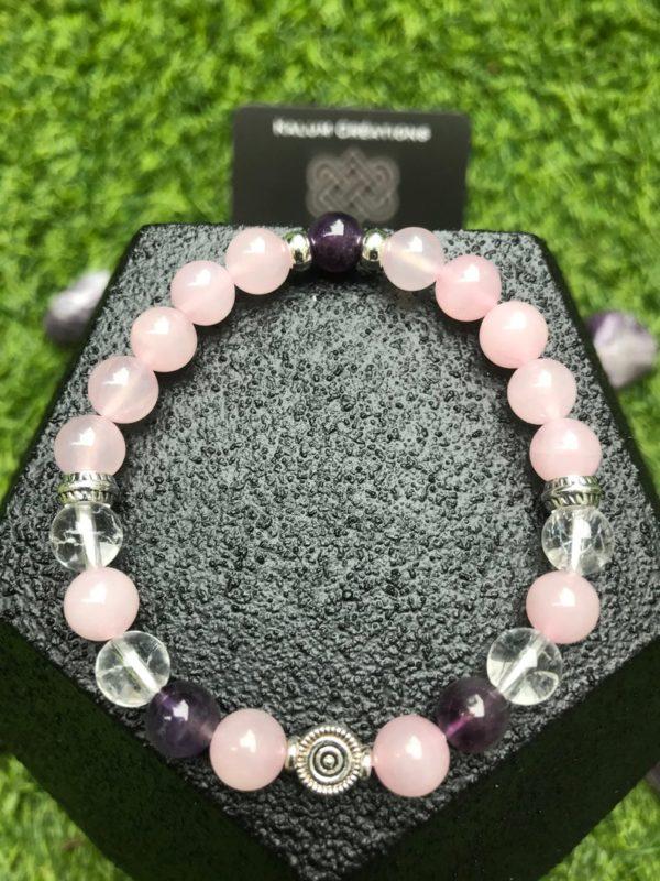 Bracelet perle quartz rose / améthyste / cristal de roche