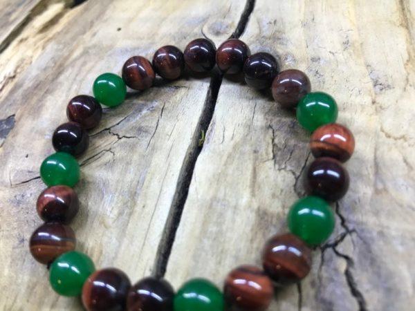 Bracelet œil de taureau et jade vert en 8mm