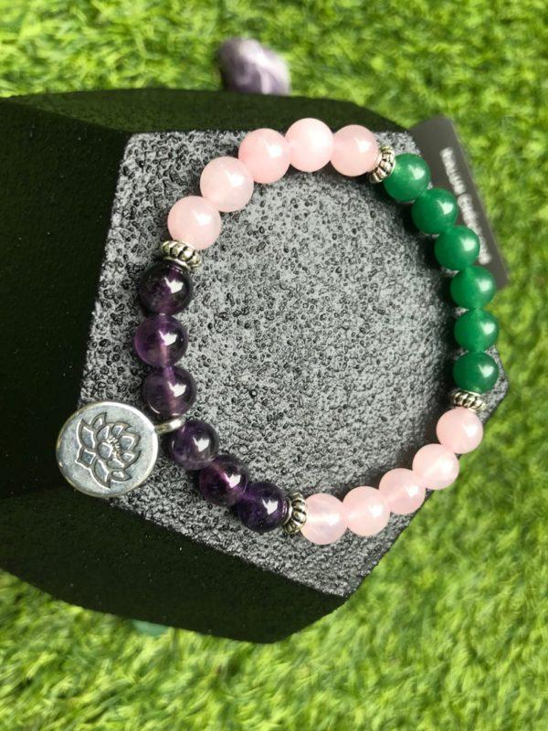 Bracelet perle quartz rose / améthyste / aventurine verte / fleur de lotus