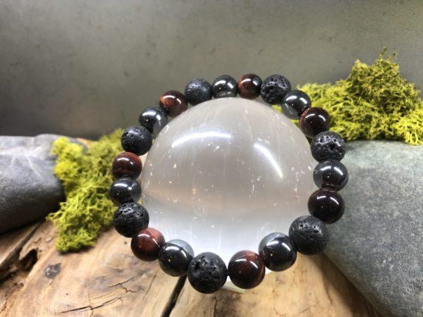 Bracelet Oeil de taureau / Hématite / pierre de lave 10mm