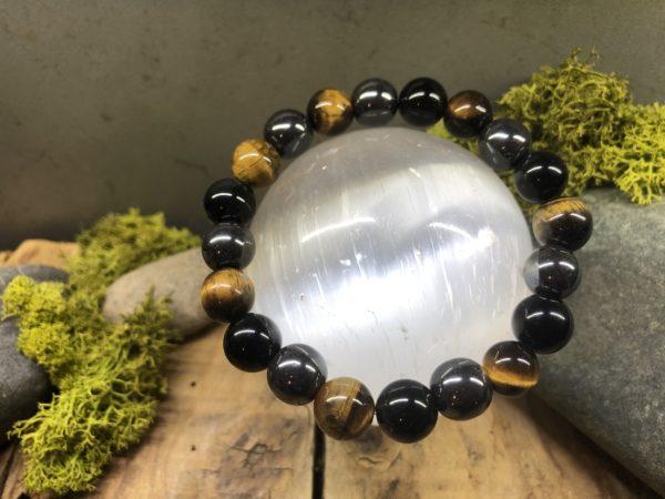 Bracelet protection avec oeil de tigre/obsidienne/hématite 10mm
