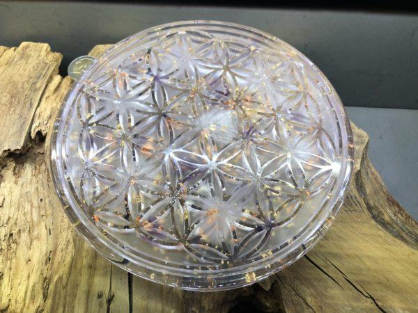 Orgonite fleur de vie 18cm avec Améthyste/Quartz rose/Cristal de roche