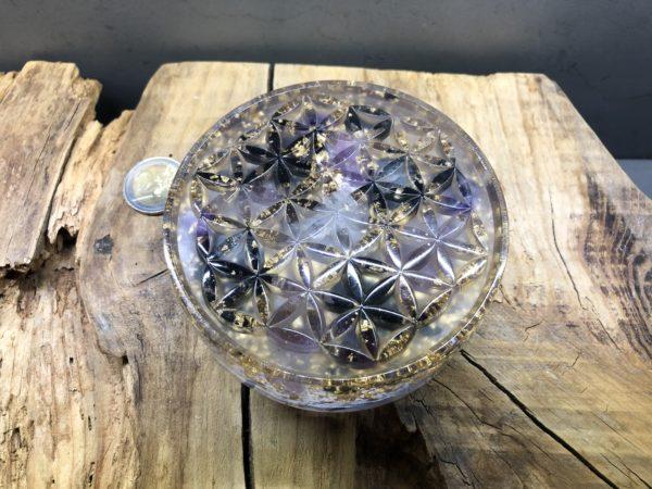 Orgonite fleur de vie 11cm avec Shungite/Améthyste/Cristal de roche